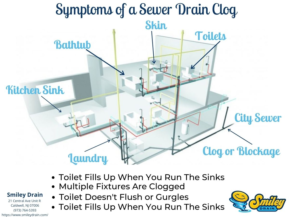 sewer drain clog in a home diagram infographic of home with clogged sewer line
